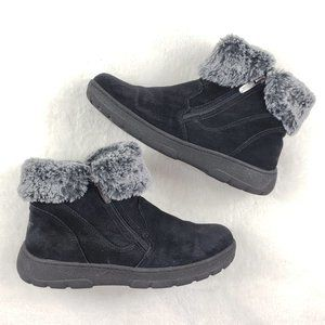 Khombu Jessica Suede bootie with faux fur top 9M